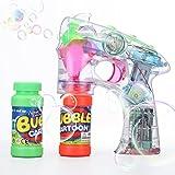 Shinehalo pistola a bolla trasparente tiratore di bolla pistola Macchina soffiante con luci a LED, effetti sonori, batterie e ricarica extra di bottiglie -Trasparente