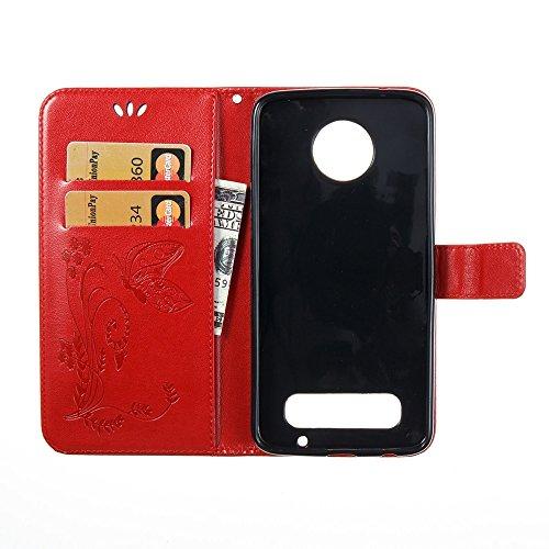 Solid Color Faux Leder Bookstyle Brieftasche Stand Case mit geprägten Blumen & Lanyard & Card Slots für Motorola MOTO Z2 Play ( Color : Darkblue ) Red