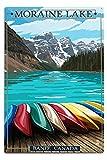 BANFF, Alberta, Kanada–Moraine Lake und Kanus, Aluminium, mehrfarbig, 12 x 18 Metal Sign