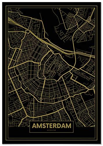 Panorama® Póster Mapa Oro Amsterdam 50 x 70 cm |