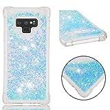 SHYHONG Kompatibel Samsung Galaxy Note 9 Hülle+5D gehärtetem Glas Dynamischer Treibsand Transparent TPU Silikon Handyhülle Vier Eckluftkissen Schutzhülle Anti-Shock Bumper Cover(Silberblau)
