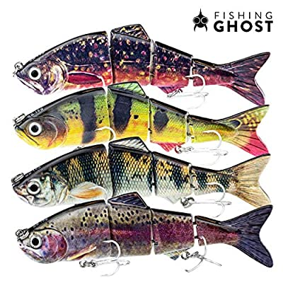 FISHINGGHOST Bait Candy Set, Length: 12/15 cm, Weight: 18/35 grams, Swimbait Artificial Lures/Fishing Lures/Wobblers For fishing for predatory fish such as pike, perch, trout (4x) by FISHINGGHOST