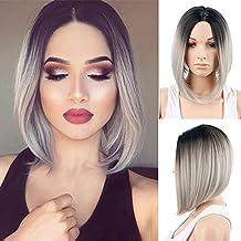 Royalvirgin Peluca de las mujeres corto Bob gris peluca moda de alta calidad resistente al calor