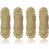 Hanyi [4 Pack] 10 M / 32 Fuß 8mm Baumwollseil Bondageseil für Binden von Gepäck, Schlafzimmerfantasien, Nähen, Verpackungswerkzeuge