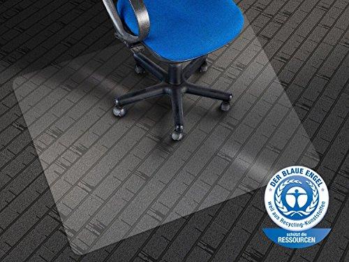 etm Bodenschutzmatte - 120x90cm | TÜV und Blauer Engel | transparent, mit Ankernoppen für Teppichböden