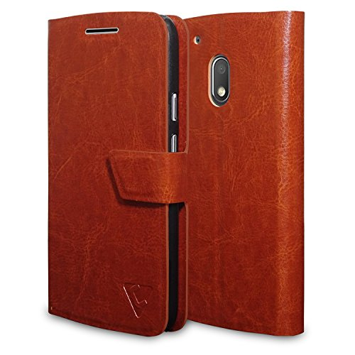 Ceego Flip Cover for Moto G4 Play [Ultra Compact with Magnetic Lock] - XpressGo Series - Moto G Play, 4th Gen Flip Case (Vintage Brown)