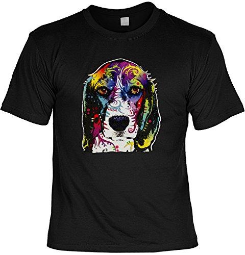 Color T-Shirt Neon Beagle Shirt 4 Heroes Geburtstag Geschenk geil bedruckt Schwarz