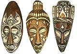 Maskenset bemalt 20 cm, Holz-Maske aus Bali, Wandmaske