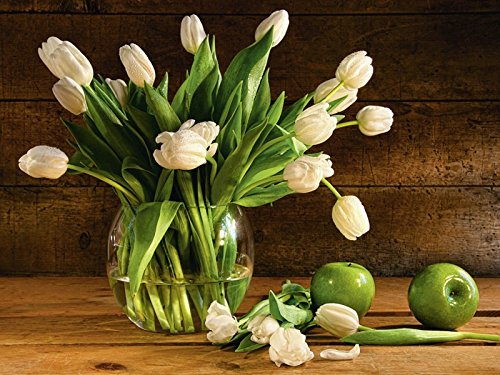 Artland Wandbilder selbstklebend aus Vliesstoff oder Vinyl-Folie Sandralise Tulpen in Glasvase mit rustikalem Holz-Hintergrund Botanik Blumen Tulpe Fotografie Braun A7JV