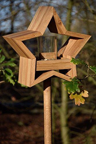 Luxus-Vogelhaus 85075e Stern Design, Ständer aus geöltem Eichenholz, Holz mit Silo, 30 x 14 x 152 cm - 9