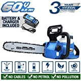 Hyundai Cordless Chainsaw 60v Lithium-ion Battery with Oregon Bar and Chain HYC60LI, Blue