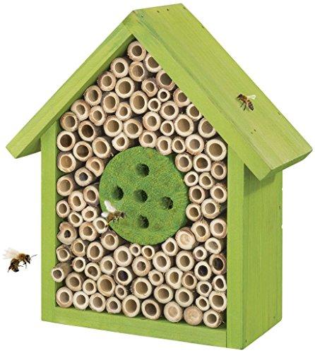 FLORABEST ® Insektenhotel (Design Häuschen, Farbe: grün) (Bambus Golden)
