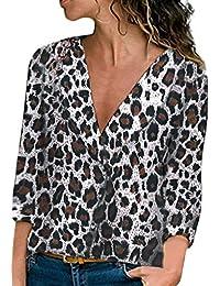 DEELIN LiquidacióN Blusa Moda Mujer Sexy Camisa De Manga Larga con Cuello En V Estampado Leopardo Camiseta Tops Camisetas