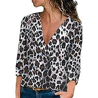 LILICAT✈ 2019 Fashion Loose Cardigan Estampado Leopardo Camisa de Manga Larga de Manga Larga con Cuello en v Leopardo impresión suéter Camisa Top