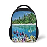 """Kids School Backpack Ocean Island Decor Stylish,Sandy Seacoast and The Underwater Aquatic World in Maldives Travel Diving Paradise Photo for School Travel,9.4"""" L x 3.5"""" W x 12.2"""" H"""