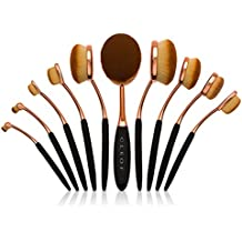 """Brochas de maquillaje Profesional ovalada – 10 brochas - Brochas de diseño """"cepillo de dientes""""."""