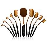 Pennelli Per Make Up Ovali Set Trucco Professionale - 10 Pezzi - Design Spazzolino immagine