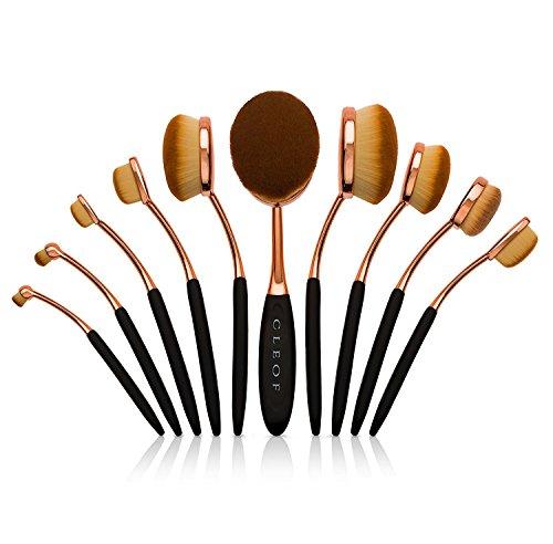 Pennelli Per Make Up Ovali Set Trucco Professionale - 10 Pezzi - Design Spazzolino