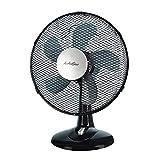 AirArtDeco - Ventilateur de Table Personnel 12 Pouces Ø30 cm | 3 Vitesse | Oscillant | Fonctionnement Silencieux | Convient au Bureau, à la Chambre à Coucher et au Salon(Noir)