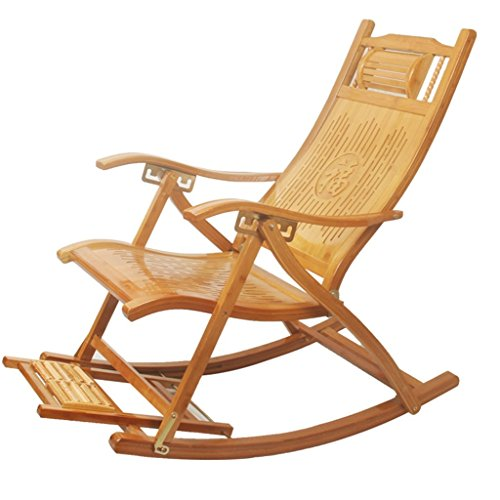 WJJJ Bambus Schaukel Lounge Stuhl Patio Deck Stuhl Deck Stuhl Faltbare Einstellbare Tilt Veranda Rocker Hinterhof Stuhl -