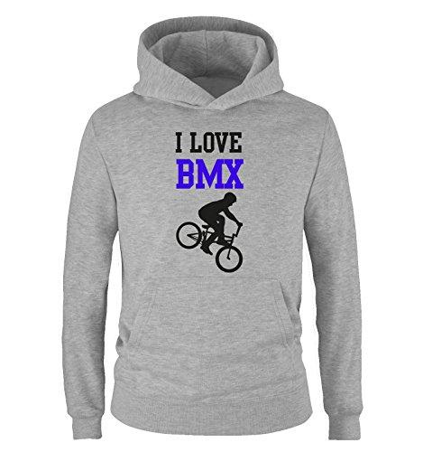 I Love BMX - Kinder Hoodie - Grau/Schwarz-Royalblau Gr. 104