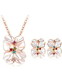 FreshVibes White 18K Rose Gold Plated Floral Earrings And Pendant Necklace Set For Women