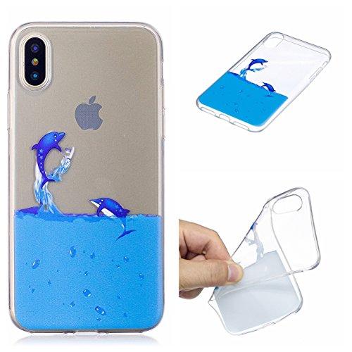 iPhone X Hülle, Voguecase Silikon Schutzhülle / Case / Cover / Hülle / TPU Gel Skin Handyhülle Premium Kratzfest TPU Durchsichtige Schutzhülle für Apple iPhone X(Weißer Leopard) + Gratis Universal Ein Delphin spielt im Wasser