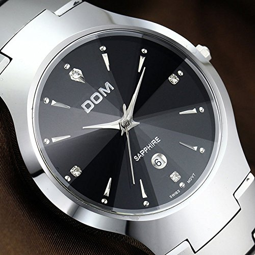 DOM Mens Silver Fashion Small Dial for men Luxury Dress Tungsten steel brands Quartz Watches