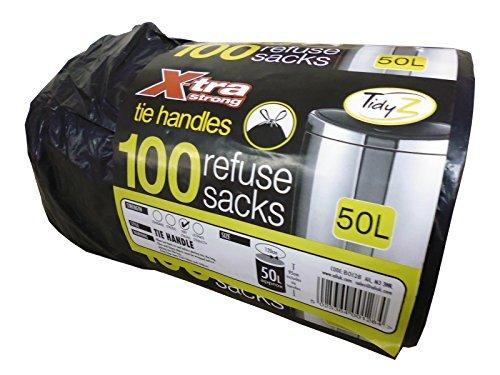 Ail rotolo di 100X-tra super resistente cravatta maniglia nera per rifiuti sacchi della spazzatura da 50litri