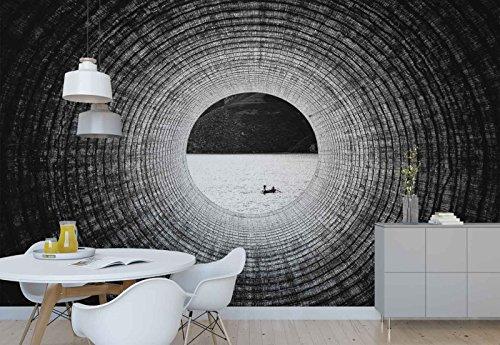 Vlies Fototapete Fotomural - Wandbild - Tapete - Tube Tunnel Aussicht Fluss Boot - Thema Texturen und Effekte - MUSTER - 104cm x 70.5cm (BxH) - 1 Teilig - Gedrückt auf 130gsm Vlies - 1X-1314490VEM