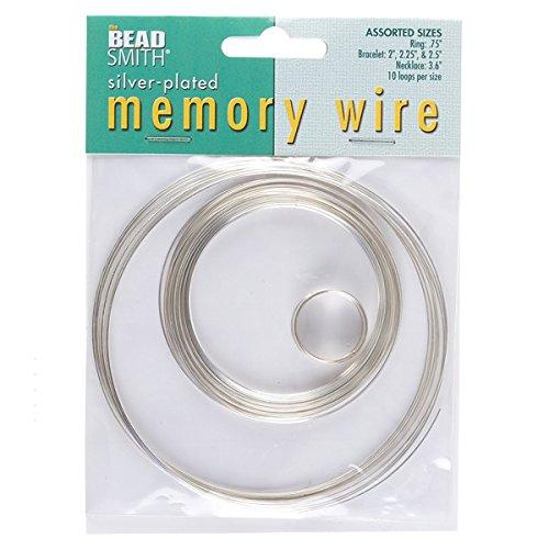Ring-größe-memory-draht (BeadSmith Draht mit Memory-Effekt. versilbert, 10Schlaufen, 5Größen)