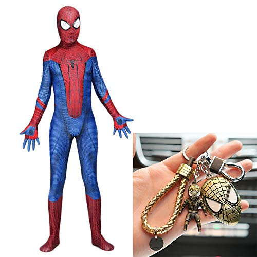 Superhelden Spielen Sie Kostüm Eine Machen - WERTYUH Erstaunliche Spider Man Kostüm Party Kostüm Superheld Overall Kampfanzug Kind Erwachsene Cosplay Halloween Strumpfhosen + Spiderman Keychain Set,Adult-XL