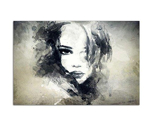 120x80 cm - Handmalerei Gesicht schöne Frau Mädchen abstrakt - Bild auf Keilrahmen modern stilvoll - Tolle Bilder und Dekoration - Abstrakte Frau Gesicht