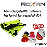 Roxan Adjustable Agility 4 Meter Speed Ladder With Free Football Saucer Cone Multi-color Pack Of 20 / Track And Field Best Training Equipment For Step Improvement / Multi Color Speed Lader With Football Saucer Cone / Field Marker Cone / Space Marker Cone