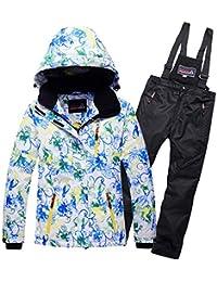 Conjunto De Traje De Esquí para Niñas Ropa de escalada al aire libre para niños y niñas Pantalones de algodón gruesos y cálidos impermeables a prueba de viento Traje de chaqueta de esquí ,Suit4,9