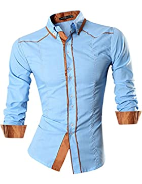Jeansian Uomo Camicie Maniche Lunghe Moda Men Shirts Slim Fit Casual Long Sleves Fashion 8695