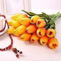 10 pezzi reale tocco PU lattice artificiale del tulipano Fiori per Wedding Bouquet di fiori finti e Decorazione per la Casa Garden Decor, simulazione reale di tocco del tulipano colorato per il regalo di compleanno di Natale San Valentino(Arancia)