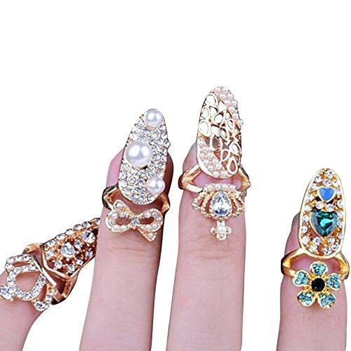 Beauty7-4 STK Damen Modetrend Bling Bling Vintage 3D Gothic Punk-Stil Kristall Strass Fingerring Fingernagel Ring Nagelring