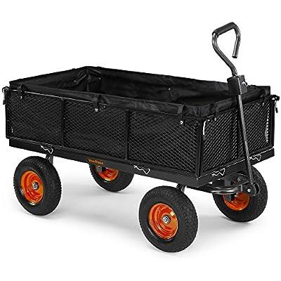 VonHaus 600KG Mesh Garden Cart with Lining - Heavy Duty 4 Wheeled DIY Trailer Cart