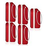 Aluminum Luggage Tag for Luggage Baggage Travel Identifier by CPACC (Red 5 Pcs)