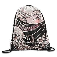 NiPapack Japanese Tattoo Style Original Sketch Drawing Print Shoulder Drawstring Bags
