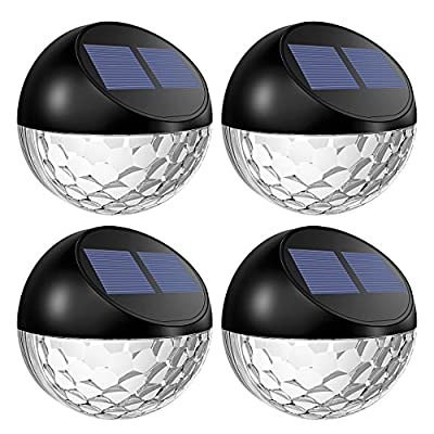 TOPELEK Solar Fence Lights, Decorative Lights 6 LED Garden Lights, Waterproof Solar Lights Wireless Outdoor Lights for Patio, Fence, Yard, Garden, Garage, Stairway, Gate, Wall (Pack of 4) by TOPELEK