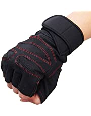 serveuttam Leosportz Leather Wrist Support Gym and Fitness Gloves (Red and Black)