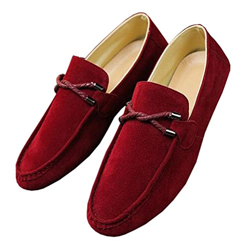 Deylaying Hommes Détente Daim Mocassins Plats Loafers Low-Top Chaussures Slippers rouge 3