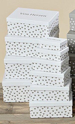 Bloominghome Pappboxen 10-teilig Verschiedene Größen stapelbar weiß, Herzen grau