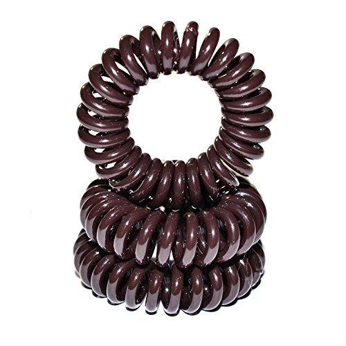Miya Set of 3 High-Quality Decorative Hair Scrunchie Brown Elastic Telephone Cable, mini Plastic Spiral Telefonhaargummi, hair accessories, Bracelet by Miya beautycenter