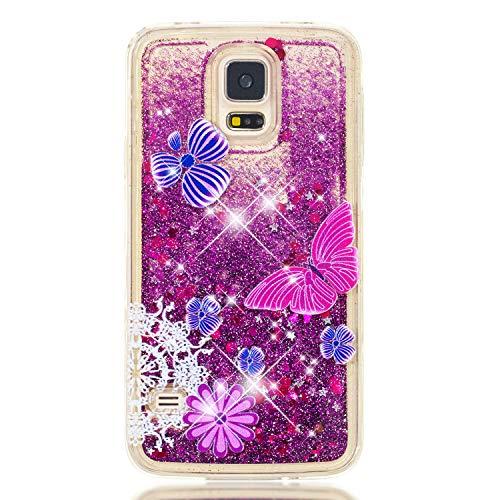 Miagon Flüssig Hülle für Samsung Galaxy S5,Glitzer Weich Treibsand Handyhülle Glitter Quicksand Silikon TPU Bumper Schutzhülle Case Cover-Lila Schmetterling