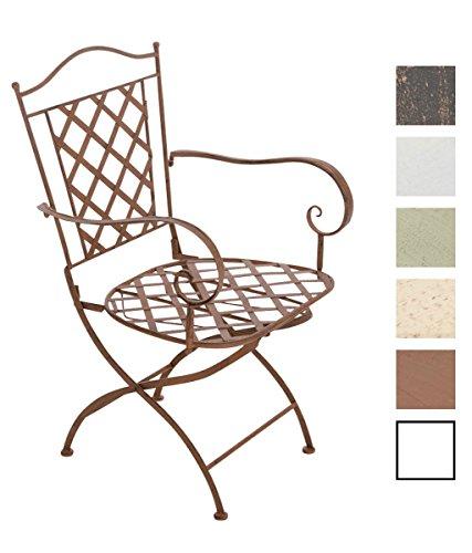 CLP Eisenstuhl Adara im Jugendstil I Outdoor-Stuhl mit Armlehnen I Handgefertigter Gartenstuhl aus Eisen I erhältlich Antik Braun