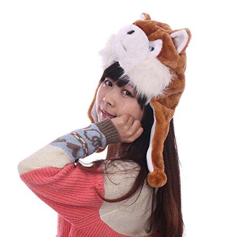 Honeystore Unisex Erwachsenen Kinder Husky Kurz Hut Plüsch Tier Hund Mütze Zubehör Fasching Karneval für 2018 Jahr des Hundes Braun