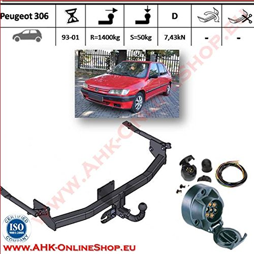 ATTELAGE avec faisceau 7 broches | Peugeot 306 de 1993 à 2001 Hayon / crochet «col de cygne» démontable avec outils